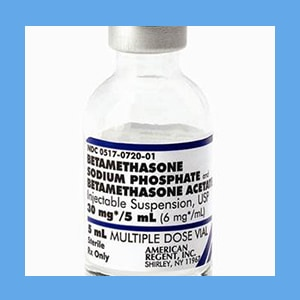 Betamethasone 6 mg/ml x 5 ml corticosteriod, sodium phosphate, betamethasone, acetate