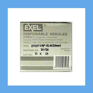 "Exel Needles 27g x 1 1/2"" needles, disposable, stainless steel, Exel"