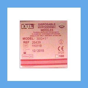 "Exel Needles 30g x 1"" needles, Exel, sterile, stainless steel, latex-free"