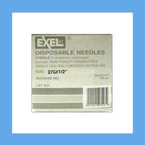 "Exel Needles 27g x 1/2"" needles, disposable, stainless steel, Exel"