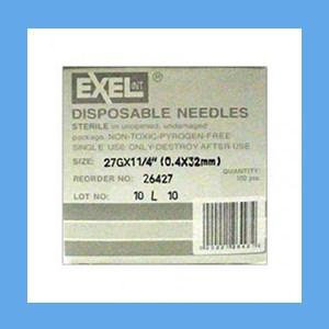 "Exel Needles 27g x 1 1/4"" needles, disposable, stainless steel, Exel"