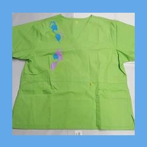 Wonder Wink Scrub Top Artsy Arch Paint Splash Green Apple OVERSTOCK Scrubs Top Artsy Arch Butterfly Paint Splash Green Apple
