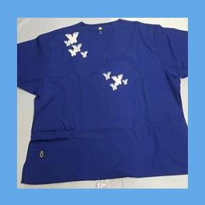 Wonder Wink Scrub Top Artsy Arch Butterfly Galaxy Blue OVERSTOCK Scrubs Top Artsy Arch Butterfly Galaxy Blue