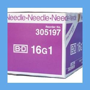 "BD PrecisionGlide Needle, Regular Bevel, Sterile 16G x 1""  BD PrecisionGlide Needle, 16G x 1"" Regular Bevel, Sterile"