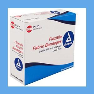 "Dynarex Adhesive Fabric Bandages 1"" x 3"" bandage strips, flexible, fabric, breathable, sterile, latex-free, Dynarex"