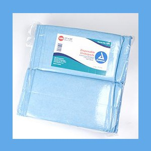 "Dynarex Underpads Poly-Back, 2ply Tissue Fill 17"" x 24"" underpads, absorbent, soft, waterproof, poly-back, tissue fill."
