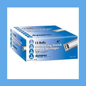 """Dynarex Conforming Sterile Stretch Gauze Bandage 4"""" 12 rolls/ box knitted, light compression, stretch, gauze, bandage, protects wound"""