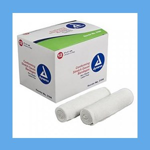 """Dynarex Conforming N/S Stretch Gauze Bandage 4"""" 12 rolls/ box knitted, light compression, stretch, gauze, bandage, protects wound"""