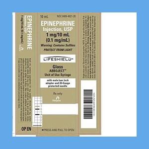 """Epinephrine Injection USP 1mg/10ml (0.1mg/ml) Glass Syringe 20G x 1 1/2"""" Adult Epinephrine Injection"""