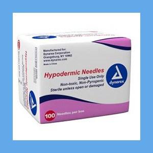 "DYNAREX Hypodermic Needles 22G x 1"" needles, disposable, stainless steel, Dynarex"
